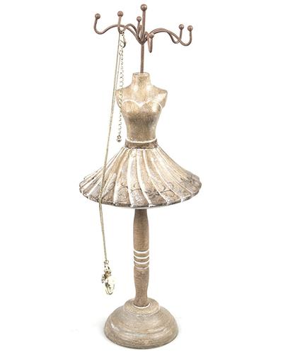 Provdocka smyckeshållare trä vintage smyckesställ shabby chic lantlig stil