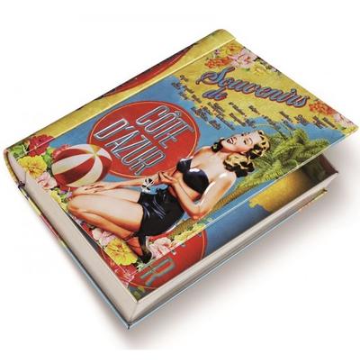 Förvaringslåda bok i plåt Retro Souvenirs de Cote d´Azur