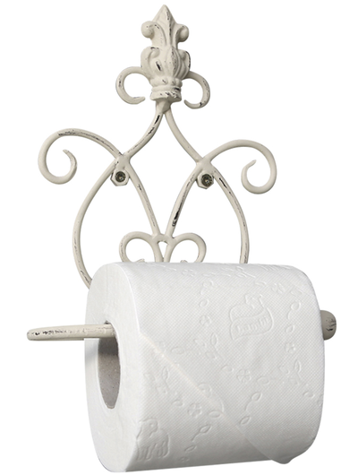 Hållare för toalettpapper Toarullshållare antik vit smide shabby chic lantlig stil