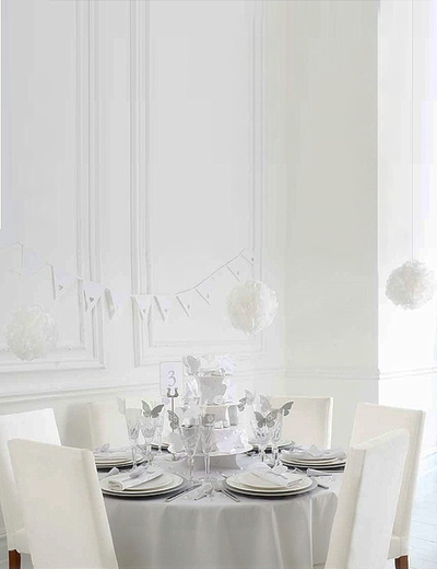 5 set Pappersblomma pompoms vita pynt bröllop högtid