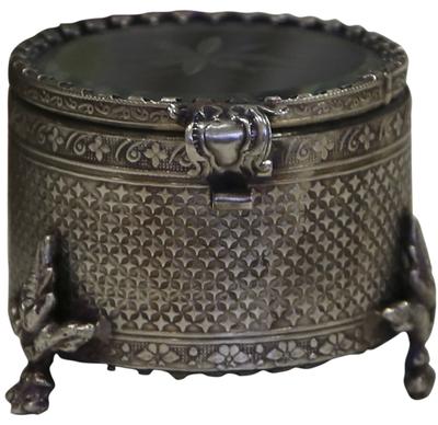 Smyckesskrin ask slipat glas antik silver kant shabby chic lantlig stil