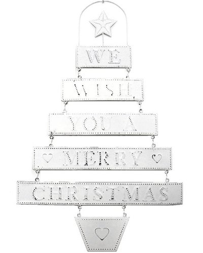 Plåtskylt WE WISH YOU A MERRY CHRISTMAS shabby chic lantlig stil