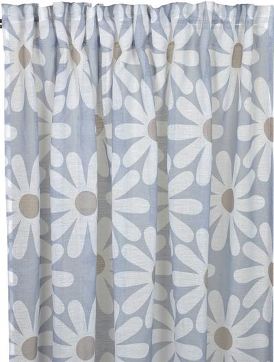 2 st Gardinlängder Vitsippa ljusblå shabby chic Romantisk lantlig stil