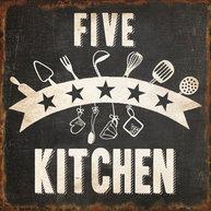 Plåtskylt med magnet  5 star kitchen shabby chic lantlig stil.