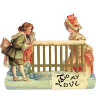 Viktorianskt motiv To my Love Valentinekort präglat