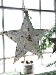 Stor antikbehandlad stjärna i metall Jeanne d´Arc Living