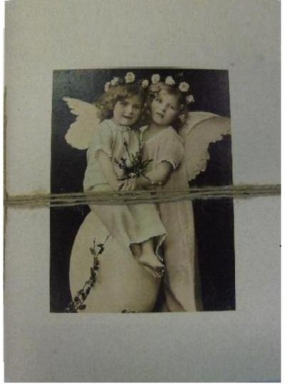 Stor anteckningsbok Änglar handgjord shabby chic lantlig stil