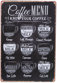 Plåtskylt Coffee Menu retro shabby chic lantlig stil