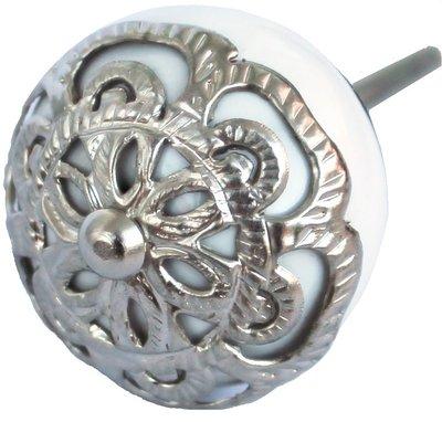 Knopp vit porslin silverornament shabby chic lantlig stil