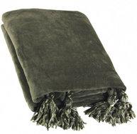 Pläd Tassel olivgrön shabby chic lantlig stil