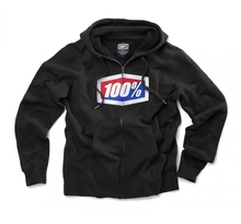 100%, OFFICIAL ZIP HOODED SWEATSHIRT, VUXEN, S, SVART