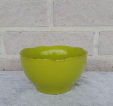 Skål i stengods vågig grön