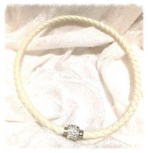 Combo halsband/armband Vitt