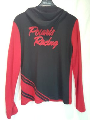 Hoodie med dragkedja, röd/svart (damstorlek) XL