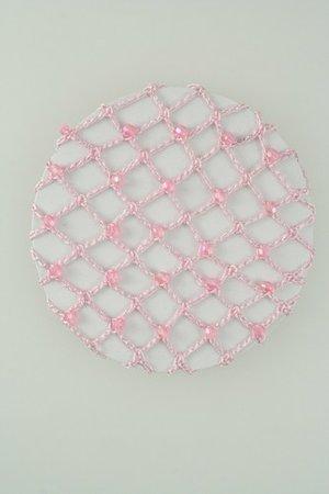 Rosa knutnät med kristaller