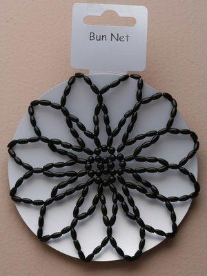 Hårnät gjort av pärlor i svart, vitt eller rosa