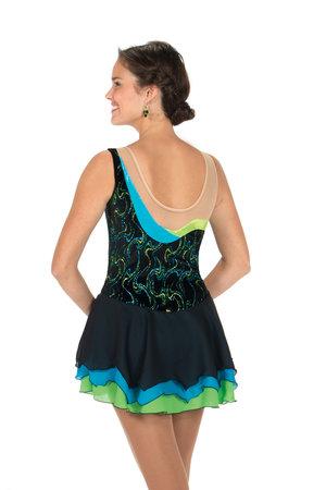 Assymetrisk klänning i bått och grönt