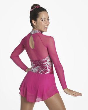 Långärmad klänning i marinblått eller fuchsia