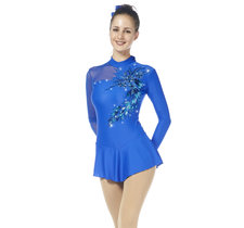 Blå tävlingsklänning i lykra från Sagester