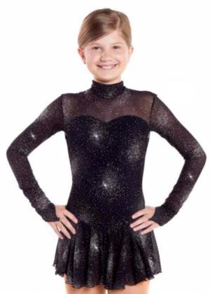 Långärmad glittrig klänning i svart