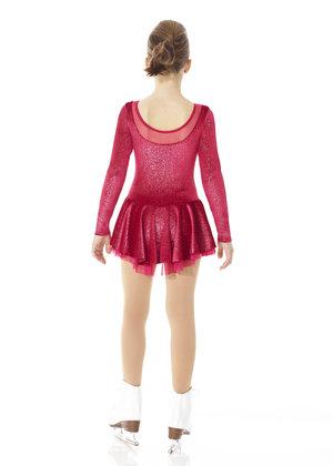 Röd klänning i glittersammet med underkjol