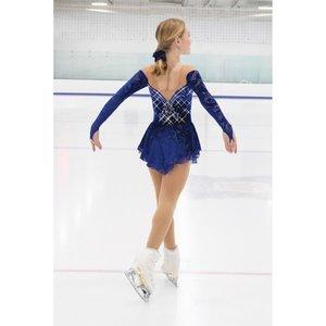 Långärmad klänning med kristaller i kornblått