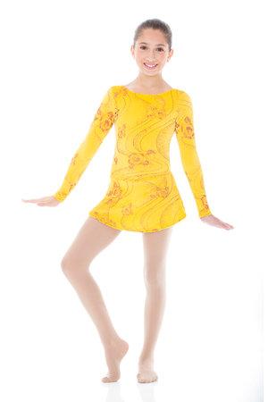 Gul sammetsklänning med glittermönster