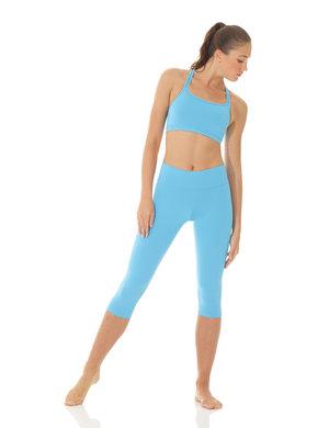Blå capribyxa i funktionsmaterial med nervikbar kant