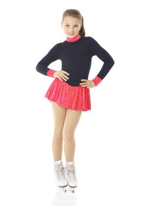 Varm klänning i Polartec med ljusröd glittrig sammtskjol