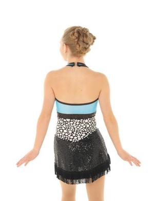 Halterneckklänning i svart, vitt och ljusblått