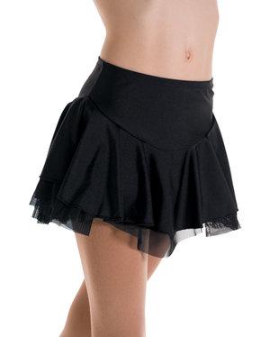 Rynkad enfärgad kjol i lycra med underkjol i tyll i flera färger