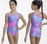 Ärmlös gymnastikdräkt i lila & rosa glittrig gymnastikdräkt