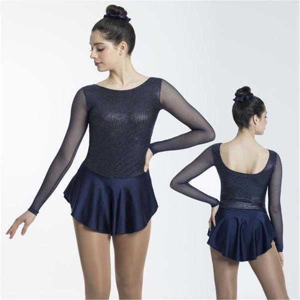 Långärmad klänning i marinblått glittrigt material