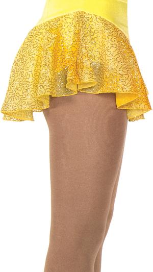 Rynkad kjol i gul glittermesh
