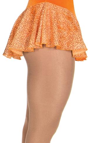Rynkad kjol i orange glittermesh