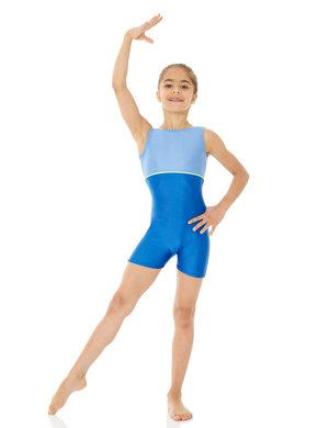 Ärmlös dräkt med korta ben i blått