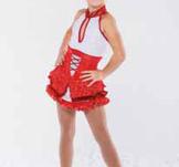 Röd och vit halterneckklänning
