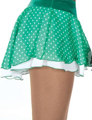 Grön och vitprickig kjol