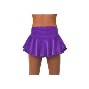 Rynkad kjol i lila glittersammet
