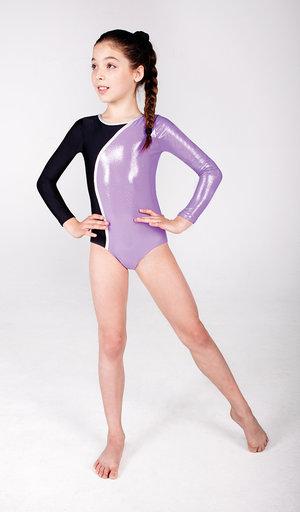 Långärmad gymnastikdräkt i lila metallic