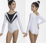 Långärmad glittrig gymnastikdräkt i svart, rosa eller vit.