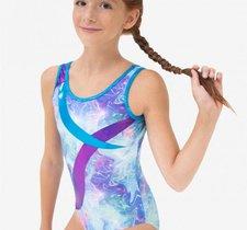 Gymnastikdråkt i rosa- eller blåmönstrat från Capezio