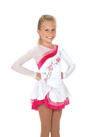Vit sammetsklänning med rosa blommor