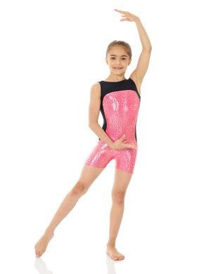 Ärmlös dräkt med korta ben i rosa leopardmönster