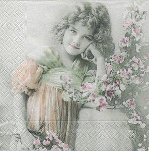 Flicka vid blomster    sa4034