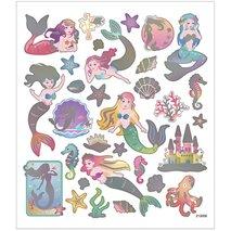 Stickers, 15x16,5 cm, sjöjungfru, 1ark