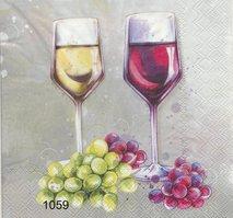 Vitt och rött vin med druvor