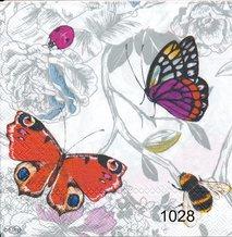 Fjärilar med humla och nyckelpiga   kaf1028