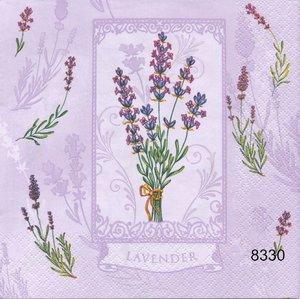 Ljuvlig lavendel olika motiv på servetten  8330