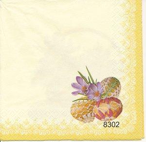Vårblommor i korg, 2olika moriv(Gul kant) 8302